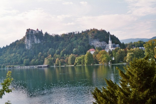 Lake bled: castle rock & church